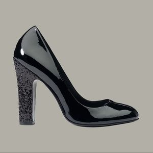 Tory Burch Black Patent Colin Pump with Glitter